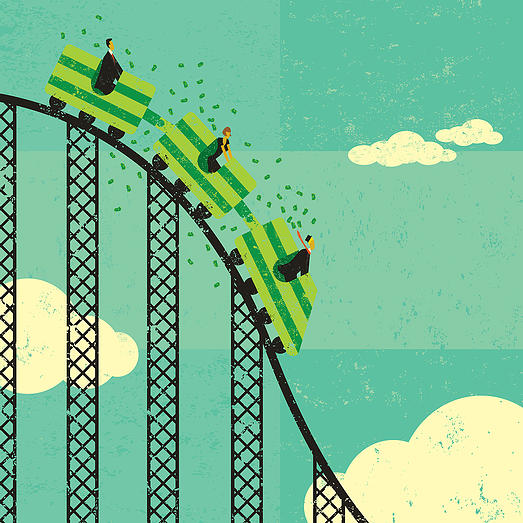 Roller coaster economy Business people losing money riding the roller coaster economy. The people & roller coaster and background are on separate labeled layers.