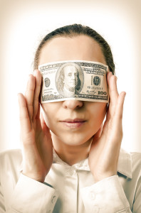 Woman with a hundred dollars in her eyes